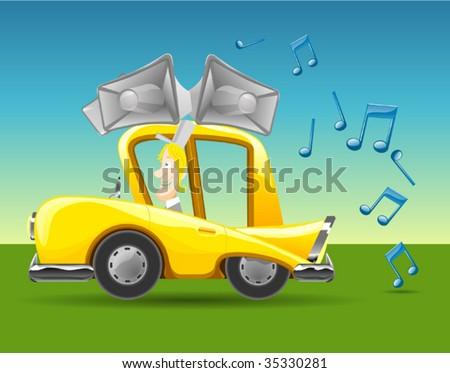 Car karaoke - stock vector