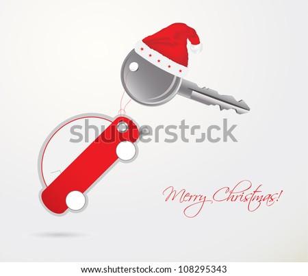 car key  - Christmas gift - stock vector