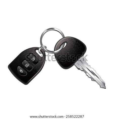 Car keys isolated on white photo-realistic vector illustration - stock vector