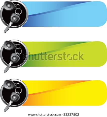 car keys on colored tabs - stock vector