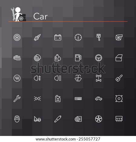 Car line icons set. Vector illustration. Geometric background. - stock vector