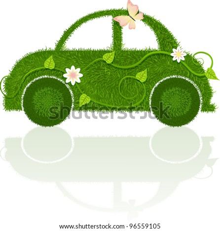 Car, made of grass with leaves, flowers and butterfly - stock vector
