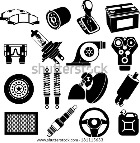 Car maintenance icons black on white - stock vector