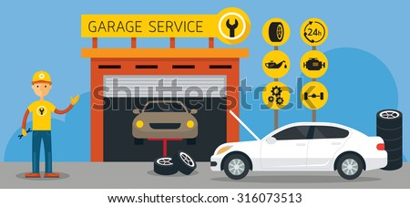 Car, Mechanic and Garage Service Icons and Illustration, Flat Design, Panorama, Automobile Maintenance - stock vector