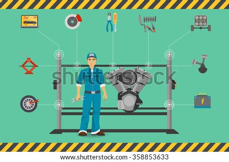 Car mechanic repair service center concept with tuning diagnostics flat elements and worker man. Repair service engine, Repair service engineillustration, Repair service engine image - stock vector