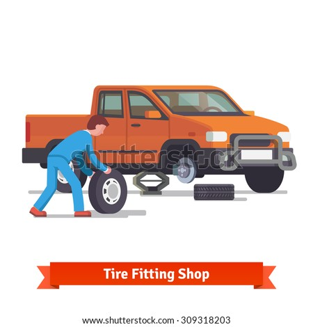 Car mechanic rolling tire to change it on a pickup truck standing on lifting jack. Flat style 3d vector illustration isolated on white background. - stock vector