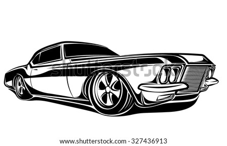 Car muscle 70s vector silhouette - stock vector