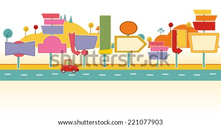 Car on a road with billboards. Ad signs.  - stock vector