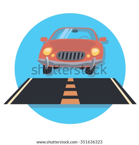 car on the road circle icon with shadow - stock vector