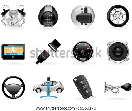 Car options, accessories and  features icon set - stock vector