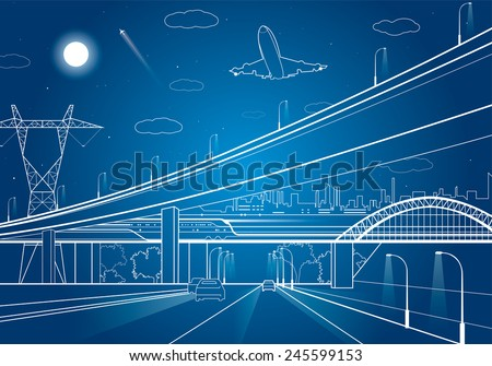 Car overpass, infrastructure, urban plot, the plane takes off - stock vector