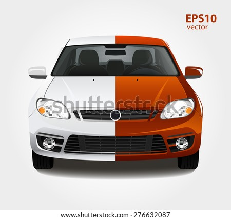 Car paint 3d color vector illustration. Before and after creative concept. - stock vector