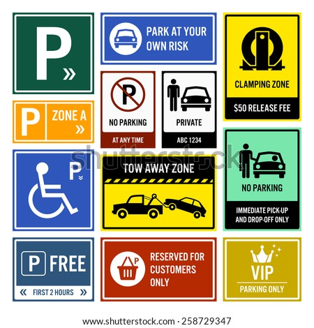 Car Park Parking Signboards - stock vector