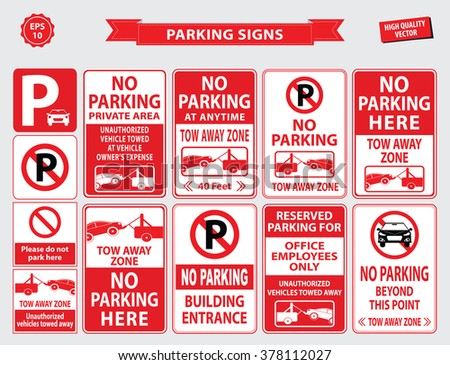 Car Parking Sign (car parking area, no parking in front of the building, office employee only, unauthorized vehicles towed away, building entrance). easy to modify. - stock vector