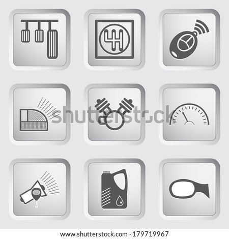 Car part and service icons set 6. Vector illustration. - stock vector