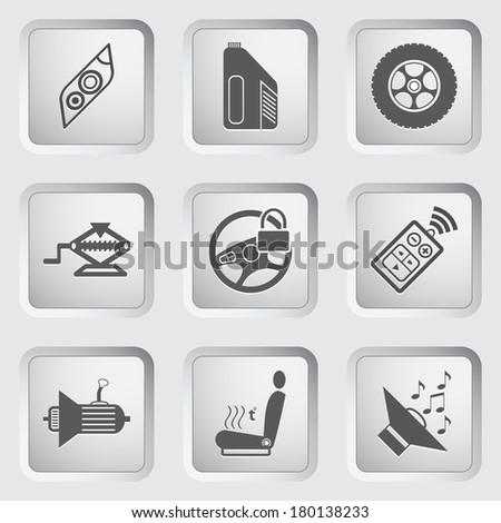 Car part and service icons set 5. Vector illustration. - stock vector