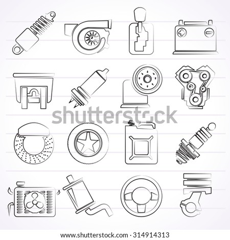 Car part and services icons  - vector icon set - stock vector