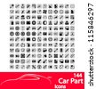 Car part icons set. Vector Illustration. - stock vector