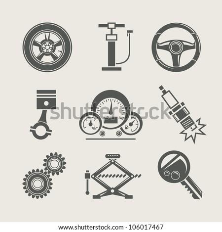 car part set of repair icon vector illustration - stock vector
