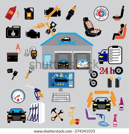 Car part set of repair icon vector illustration.  Auto service maintenance icon - stock vector