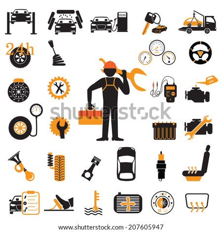 car part set of repair icon vector illustration. Car service maintenance icon - stock vector