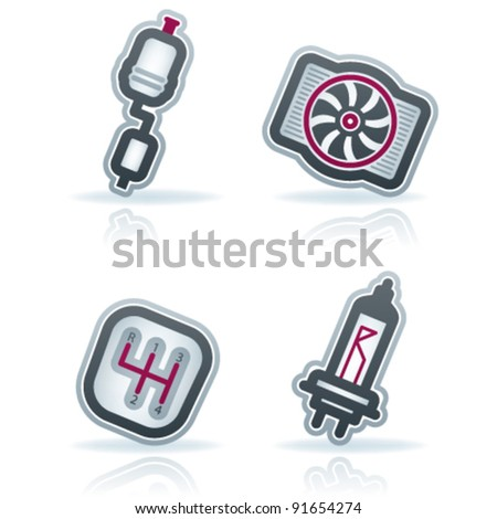 Car parts and accessories - stock vector