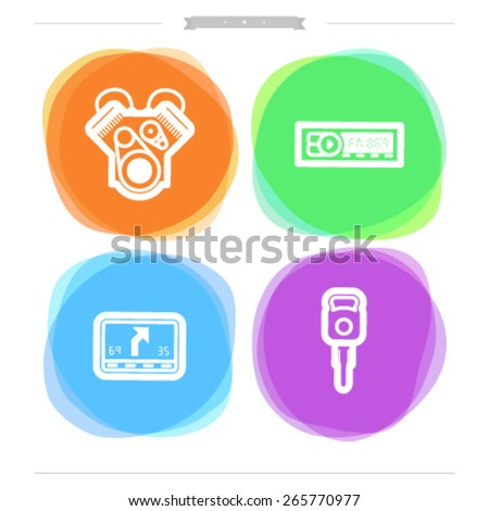 Car parts and accessories, from left to right - Engine, Car radio, Car navigation, Car key. - stock vector