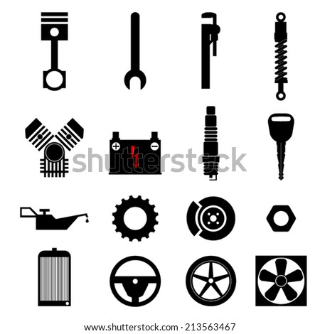 Car parts and car workshop, black&white icons  - stock vector