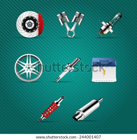 Car parts - brake, pistons, car light bulb, alloy wheels,  spark plug, battery, absorber, car muffler - stock vector