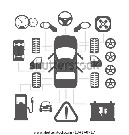Car parts icons 2 - stock vector