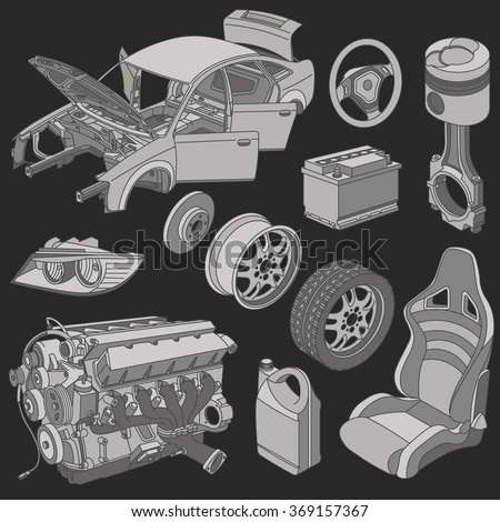 Car parts icons isometric vector - stock vector