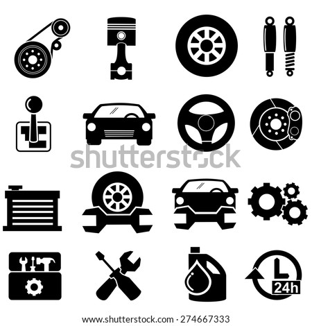 Car parts icons.vector - stock vector