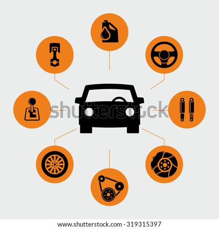 Car parts icons vector - stock vector