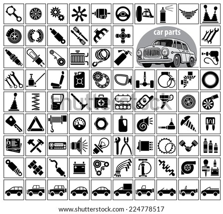 Car parts, tools and accessories. Eighty four icons and one image of a vintage car. Vector illustration on the white background - stock vector