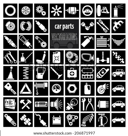 Car parts, tools and accessories. Set of vector icons - stock vector