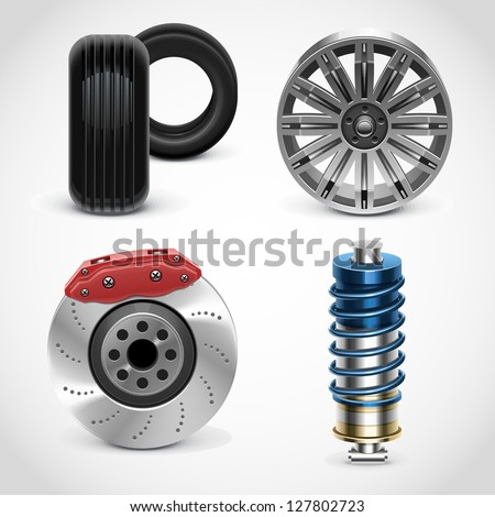 car parts vector icons set 1 - stock vector