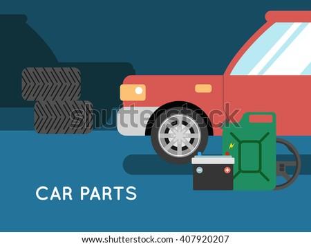 Car parts vector set. Car service vector icon set.  Car service. Tire service vector icon set. Repair car service - stock vector