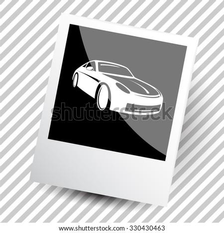 car. Photoframe. Vector icon. - stock vector