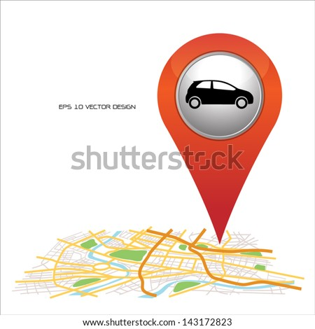 car,  pin pointer on map location. - stock vector