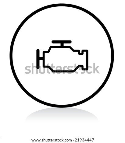 car problem warning - illuminated sign - WHITE version - engine - stock vector
