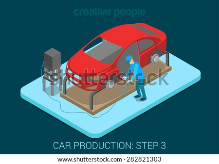 Car production plant process step 3 welding works flat 3d isometric infographic concept vector illustration. Factory worker with vehicle body weld door in assembly shop. Build creative people world. - stock vector
