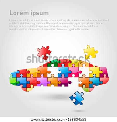Car puzzle concept. Vector Illustration.  - stock vector