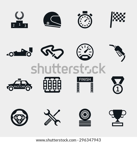 Car race icons set. Stopwatch and speedometer, tire and pedestal, helmet and cup, winning finish, flag and speed competition, vector illustration - stock vector