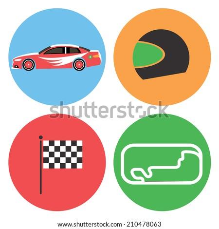 Car racing collection / Vector illustration / Car racing icons set / Flat design - stock vector