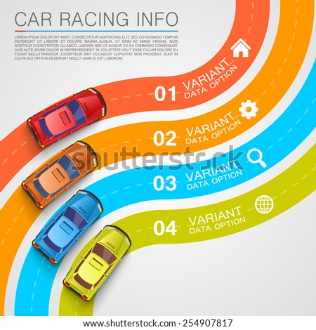 Car racing info art cover. Vector Illustration - stock vector