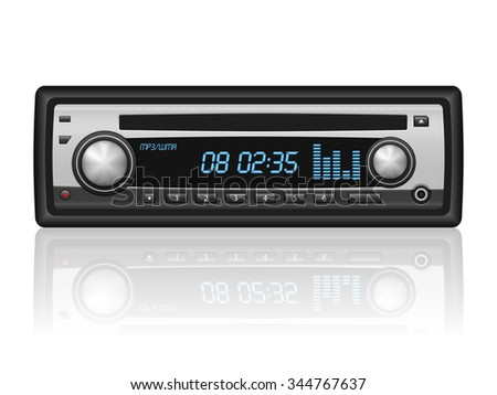 Car radio on a white background. Vector illustration. - stock vector