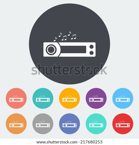 Car radio. Single flat icon on the circle. Vector illustration. - stock vector
