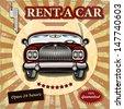 Car rentals retro poster. - stock vector