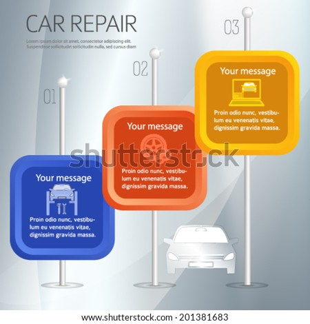 Car repair service and Auto station chart background with icons design elements on square. Modern style business presentation template for car repair firm. Vector illustration eps 10  - stock vector