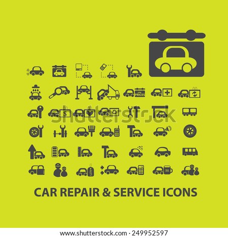 car repair, service, auto, mechanic icons, signs, illustrations on background set, vector - stock vector
